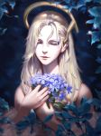 1girl bare_shoulders blonde_hair bouquet close-up closed_mouth commentary english_commentary eyes_closed face facing_viewer flower hair_between_eyes highres holding liang_xing lips long_hair mechanical_halo mercy_(overwatch) off_shoulder overwatch patreon_username smile solo watermark web_address