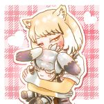 1girl animal_ears bangs blonde_hair blush commentary_request covered_mouth eyebrows_visible_through_hair fox_ears half-closed_eyes heart holding holding_stuffed_toy hug kemono_friends long_sleeves looking_at_viewer multicolored_hair shirt shoebill_(kemono_friends) short_hair short_over_long_sleeves short_sleeves solo stealstitaniums stuffed_toy swept_bangs tibetan_sand_fox_(kemono_friends) tsurime two-tone_hair upper_body white_hair