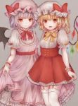 2girls :d adapted_costume bat_wings bebitera blonde_hair bow center_frills closed_mouth crystal dress eyebrows_visible_through_hair fangs flandre_scarlet frilled_sleeves frills garter_straps grey_background hat hat_ribbon highres lavender_hair long_dress looking_at_viewer mob_cap multiple_girls neck_ribbon one_side_up open_mouth petticoat pinafore_dress pink_dress puffy_short_sleeves puffy_sleeves red_bow red_dress red_eyes red_neckwear red_ribbon remilia_scarlet ribbon short_dress short_hair short_sleeves siblings simple_background sisters skirt_hold smile standing thighhighs touhou underbust white_legwear wings wrist_cuffs yellow_neckwear