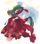 1girl angel_wings chiki cloak dress eyes_closed fire_emblem fire_emblem:_monshou_no_nazo fire_emblem_heroes from_side green_hair hair_ribbon highres hood hood_down long_hair mamkute matumuraaaa nintendo open_mouth pink_dress pointy_ears ponytail ribbon short_dress simple_background solo stone tiara twitter_username white_background wings wristband