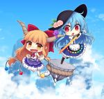 2girls :d :o album_cover bangs barefoot black_hat blue_hair blue_skirt blue_sky blunt_bangs boots bow chains chibi clenched_hands cloud cover cube day fang food fruit gourd hair_bow hat hinanawi_tenshi holding holding_sword holding_weapon horn_ribbon horns ibuki_suika keystone long_hair low-tied_long_hair miruki multiple_girls oni open_mouth orange_hair peach puffy_short_sleeves puffy_sleeves purple_skirt pyramid_(geometry) red_bow red_eyes ribbon rope shide shimenawa shirt short_sleeves sidelocks skirt sky sleeveless sleeveless_shirt smile sphere sword sword_of_hisou touhou very_long_hair weapon white_shirt wrist_cuffs