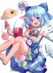 1girl :d bare_arms bare_legs barefoot blue_bow blue_dress blue_eyes blue_hair blush bottle bow cirno commentary_request dress eyebrows_visible_through_hair fan feet_out_of_frame flower food hair_bow hat hat_removed headwear_removed holding holding_food ice ice_wings innertube knees_up kooribata kure~pu looking_at_viewer morning_glory neck_ribbon open_mouth paper_fan popsicle ramune red_ribbon ribbon short_hair simple_background sleeveless sleeveless_dress smile soles solo straw_hat sun_hat sunflower tan tanned_cirno touhou uchiwa v-shaped_eyebrows water_drop water_yoyo watermelon_bar white_background wing_collar wings