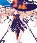 1girl abigail_williams_(fate/grand_order) asymmetrical_legwear bangs black_bow black_hat black_legwear black_panties blonde_hair bow closed_mouth commentary_request eyebrows_visible_through_hair fate/grand_order fate_(series) feet_out_of_frame hat hat_bow head_tilt highres holding holding_key key keyhole kise_(swimmt) long_hair orange_bow oversized_object panties parted_bangs red_eyes revealing_clothes signature simple_background single_thighhigh smile solo stuffed_animal stuffed_toy teddy_bear thighhighs topless underwear very_long_hair white_background witch_hat