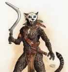 0laffson 2017 5_fingers anthro black_lips claws clothed clothing feline fur holding_object holding_weapon khopesh leopard male mammal melee_weapon open_mouth panther simple_background solo spots spotted_fur standing sword teeth tongue traditional_media_(artwork) tribal weapon white_background