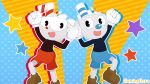 2018 absurd_res animate_inanimate black_body clothed clothing colorful colorful_background cup cuphead_(character) cuphead_(game) cute dotted_background duo footwear gaminggoru gloves hi_res humanoid jumping liquid male mugman not_furry object_head pattern_background red_nose shoes shorts sibling signature simple_background smile star straw topless video_games white_gloves young