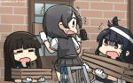 3girls black_hair brown_hair commentary dated eyebrows_visible_through_hair eyes_closed flying_sweatdrops gloves green_sailor_collar grey_skirt grey_vest hair_ornament hairclip hammer hamu_koutarou hatsuyuki_(kantai_collection) highres hime_cut holding holding_hammer kantai_collection kuroshio_(kantai_collection) long_hair motion_lines multiple_girls open_mouth pleated_skirt red_eyes sailor_collar shaded_face shirt short_hair short_sleeves skirt tears vest white_gloves white_shirt yamashiro_(kantai_collection) yawning yellow_eyes