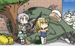 3girls ahoge akitsushima_(kantai_collection) amazon_(company) anchor blonde_hair brand_name_imitation brick_wall commentary_request dated enemy_lifebuoy_(kantai_collection) eyewear_on_head full_body glasses green_eyes green_skirt grey_hair hair_ornament hair_ribbon hamu_koutarou hat highres i-8_(kantai_collection) kantai_collection long_hair low_twintails military military_uniform mini_hat multiple_girls name_tag nishikitaitei-chan one-piece_swimsuit peaked_cap pleated_skirt propeller pt_imp_group purple_eyes red-framed_eyewear ribbon school_swimsuit semi-rimless_eyewear shinkaisei-kan side_ponytail sidelocks skirt standing sunglasses supply_depot_hime swimsuit thighhighs trash_bag tree twintails under-rim_eyewear uniform white_legwear