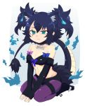 1girl animal_ears araenai bare_shoulders black_gloves blue_hair breasts cerberus_(kemono_friends) character_name commentary_request dog_ears elbow_gloves extra_ears eyebrows_visible_through_hair fingerless_gloves frown full_body gloves green_eyes hair_between_eyes highres kemono_friends medium_breasts midriff name_tag scar scar_across_eye seiza short_hair simple_background sitting solo tail twintails v_arms