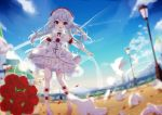 1girl absurdres cloud cross detached_collar dress flower fufumi hair_flower hair_ornament highres honkai_impact lamppost long_hair open_mouth outdoors red_eyes rose shoes silver_hair sky smile solo strapless strapless_dress theresa_apocalypse white_dress