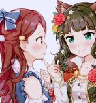 2girls alternate_costume animal_ear_fluff animal_ears aqua_eyes bangs bare_shoulders blue_background blue_bow blue_eyes blunt_bangs bow breasts brown_eyes brown_hair cat_ears clare_(puyo2) collarbone detached_sleeves eye_contact eyebrows_visible_through_hair finger_to_chin flower frilled_sleeves frills fur_collar hair_bow hair_ornament hairclip kemonomimi_mode kurosawa_dia long_hair long_sleeves looking_at_another love_live! love_live!_sunshine!! medium_breasts mole mole_under_mouth multiple_girls parted_lips pointing pointing_at_self profile puffy_long_sleeves puffy_sleeves red_bow red_flower red_hair red_rose rose sakurauchi_riko shirt simple_background upper_body wavy_hair white_shirt yellow_flower yellow_rose yuri