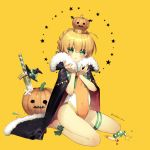 1girl :t ahoge ankle_bow ankle_ribbon artoria_pendragon_(all) barefoot black_cape black_hat blonde_hair blush bow braid candy cape character_request child closed_mouth commentary_request competition_swimsuit covered_navel crossed_bandaids crown fate/grand_order fate_(series) food full_body fur-trimmed_cape fur_trim green_bow green_eyes hands_up hat hat_bow looking_at_viewer nabenko one-piece_swimsuit orange_swimsuit planted_sword planted_weapon pout pumpkin ribbon saber short_hair simple_background sitting solo star swimsuit sword thigh_strap twitter_username wariza weapon witch_hat yellow_background younger