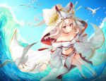 1girl afloat ayanami_(azur_lane) azur_lane bare_shoulders bird blonde_hair blurry blush breasts choker cleavage collarbone commentary_request depth_of_field japanese_clothes kimono kiyosato0928 long_hair looking_at_viewer medium_breasts navel ocean off_shoulder petals ponytail red_eyes remodel_(azur_lane) seagull solo thighhighs uchikake white_legwear zettai_ryouiki