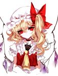 1girl absurdres artist_name ascot bangs black_choker blonde_hair bow choker collarbone commentary cropped_torso cross cross_choker crystal eyebrows_visible_through_hair eyelashes flandre_scarlet frilled_shirt_collar frills hair_between_eyes hat hat_bow head_tilt highres long_hair looking_at_viewer one_side_up puffy_short_sleeves puffy_sleeves red_bow red_eyes red_vest ribbon_trim sheya short_sleeves signature simple_background sketch solo touhou upper_body vest white_background white_hat wings yellow_neckwear