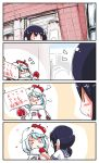 >_< +++ 0_0 2girls 4koma :< :3 azur_lane bangs beret black_hair blue_hair blue_sailor_collar blush blush_stickers chicken_costume closed_mouth comic commentary_request crossover cup disposable_cup drinking drinking_straw eyebrows_visible_through_hair eyes_closed eyes_visible_through_hair fubuki_(azur_lane) fubuki_(kantai_collection) hair_between_eyes hand_up hat heart highres holding holding_cup holding_sign kantai_collection long_hair long_sleeves low_ponytail mittens multiple_girls namesake nose_blush notice_lines o_o parted_lips red_hat red_mittens sailor_collar school_uniform serafuku shirt sign sweat tilted_headwear translation_request triangle_mouth white_shirt yagami_kamiya