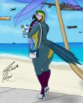 anthro avian beach big_breasts big_butt bikini bird boat bracelet breasts butt clothing dick_pic female footwear furlyfe_redux hi_res high_heels jewelry looking_at_viewer looking_back macaw necklace parrot platform_footwear sand sea seaside shoes sidewalk sky sling_bikini smoking solo spacecraft standing swimsuit vehicle water