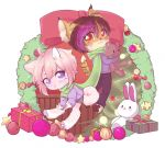 arlen_tawny brown_hair canine chibi christmas_present clothed clothing cute dog duo eyebrows eyelashes feline fully_clothed hair humanoid_hands jows_(dowghe) long_tail looking_at_viewer lynx male mammal multicolored_hair pawpads paws plushie purple_hair scarf shiba_inu simple_background sitting standing vaini white_background