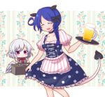 2girls :x alcohol animal_ears apron beer beer_mug black_bow black_choker blue_hair blush blush_stickers bow bowtie braid breasts choker cleavage collarbone cup dirndl doremy_sweet dress eyes_closed floral_background food fork german_clothes hair_bow kishin_sagume knife medium_breasts mug multiple_girls no_hat no_headwear open_mouth polka_dot polka_dot_dress puffy_short_sleeves puffy_sleeves red_eyes red_neckwear sausage shiohachi shirt short_sleeves silver_hair single_braid single_wing skirt_hold smile striped striped_apron striped_shirt tail tapir_ears tapir_tail touhou tray waist_apron white_wings wings