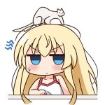 1girl animal animal_on_head bangs bare_arms bare_shoulders blonde_hair blue_eyes blush camisole closed_mouth collarbone commentary_request empty_eyes eyebrows_visible_through_hair ferret glaring hair_between_eyes hana_kazari jitome kumagorou long_hair looking_at_viewer on_head simple_background sweat takanashi_misha uchi_no_maid_ga_uzasugiru! v-shaped_eyebrows very_long_hair white_background white_camisole