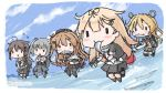 5girls abukuma_(kantai_collection) ahoge asymmetrical_clothes bag bangs belt bike_shorts black_footwear black_gloves black_jacket black_legwear black_ribbon black_serafuku black_skirt blonde_hair braid brown_hair chibi cloud commentary_request dress fish fish_in_mouth flying_sweatdrops gloves gradient_hair grey_hair grey_sailor_collar grey_skirt hair_between_eyes hair_flaps hair_ornament hair_over_shoulder hair_ribbon hair_rings hairclip holding_fish jacket kantai_collection kasumi_(kantai_collection) kneehighs light_brown_hair long_hair long_sleeves multicolored_hair multiple_girls murasame_(kantai_collection) neck_ribbon neckerchief ocean pinafore_dress pleated_skirt red_neckwear red_ribbon remodel_(kantai_collection) ribbon sailor_collar sattsu saury scarf school_uniform serafuku shigure_(kantai_collection) shirt short_sleeves shorts shorts_under_skirt side_ponytail single_braid skirt sky sleeveless sleeveless_dress socks straight_hair thighhighs twintails two_side_up very_long_hair white_gloves white_scarf white_shirt yuudachi_(kantai_collection)