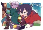 2boys black_hair broom broom_riding golden_snitch grey_eyes harry_potter keith_(voltron) lotor_(voltron) male_focus miyata_(lhr) multiple_boys open_mouth purple_eyes purple_skin quidditch robe smile voltron:_legendary_defender white_hair yellow_sclera