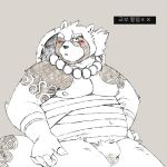 2018 anthro belly blush bulge canine clothing gyobu hat humanoid_hands jumperbear male mammal moobs nipples one_eye_closed scar simple_background solo tanuki tattoo tokyo_afterschool_summoners underwear wink