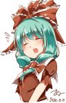 1girl :d ^_^ aqua_hair bangs blush breasts closed_eyes eyebrows_visible_through_hair eyes_closed flying_sweatdrops front_ponytail furrowed_eyebrows gokuu_(acoloredpencil) hair_ribbon highres kagiyama_hina long_hair open_mouth puffy_short_sleeves puffy_sleeves red_ribbon ribbon short_sleeves simple_background small_breasts smile solo touhou upper_body white_background
