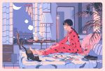 1girl aorkgk bangs black_cat black_hair blunt_bangs bra braided_ponytail cat chest_of_drawers city clock earrings eyes_closed hair_tie highres indoors jewelry lamp laundry magazine mirror moon nail_polish night note on_bed original pajamas panties pillow plant polka_dot polka_dot_bra polka_dot_panties print_pajamas signature sitting sitting_on_bed socks solo star_(sky) stuffed_animal stuffed_toy tea teddy_bear tissue_box trash_can underwear window