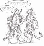 0laffson 2018 5_fingers anthro armor cheetah clothing digitigrade english_text enorach_(0laffson) feline holding_object holding_weapon loincloth mammal melee_weapon open_mouth sketch sword teeth text traditional_media_(artwork) tribal weapon