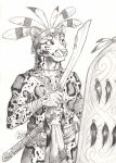 0laffson 2018 5_fingers anthro clothed clothing clouded_leopard feline holding_object holding_weapon male mammal melee_weapon shield sketch solo sword traditional_media_(artwork) tribal weapon