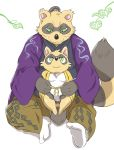 2016 anthro brown_fur canine clothing duo fur humanoid_hands hysk male mammal overweight overweight_male robe sengoku_puzzle sitting tanuki tokugawa_ieyasu young