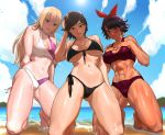 3girls abs absurdres backlighting bangs barefoot beach bikini black_bikini black_hair blonde_hair blue_eyes blue_sky blush breasts brown_eyes brown_hair cleavage cloud curvy dark_skin day earrings embarrassed feet foot from_below front-tie_bikini front-tie_top gluteal_fold hairband hand_in_hair highres hime_cut hoop_earrings jewelry josie_rizal kazama_asuka kneeling large_breasts legs lili_(tekken) long_hair looking_at_viewer multiple_girls muscle muscular_female navel nutro ocean outdoors sand sea shiny shiny_skin short_hair side-tie_bikini sky smile stomach strap_gap sun swept_bangs swimsuit tankini tekken tekken_7 thick_thighs thighs toes toned underboob