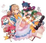 3girls :o ace_of_hearts ace_of_spades alice_(wonderland) alice_(wonderland)_(cosplay) alice_in_wonderland animal_ears ankle_ribbon back_bow bangs black_footwear blue_bow blue_dress blue_hair blush book bow brown_hair bunny_ears card cat_ears cat_tail checkerboard_cookie cheshire_cat cheshire_cat_(cosplay) commentary_request cookie cosplay cup dodapan dress flower food glasses gloves hair_bow hairband highres korean_commentary kunikida_hanamaru kurosawa_ruby long_hair love_live! love_live!_sunshine!! low-tied_long_hair mary_janes multiple_girls mushroom open_book paw_gloves paws plate playing_card pocket_watch purple_bow red_hair ribbon rose shoes short_sleeves side_bun smile socks striped striped_legwear tail teacup teapot thighhighs tsushima_yoshiko two_side_up watch white_bloomers white_flower white_legwear white_rabbit white_rabbit_(cosplay) white_rose yellow_eyes yellow_ribbon