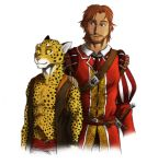 0laffson 2018 5_fingers anthro brown_eyes brown_hair cheetah clothed clothing digital_media_(artwork) duo feline fur hair human mammal melee_weapon scar simple_background smile spots spotted_fur sword weapon white_background yellow_eyes yellow_fur