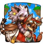 1boy 1girl animal_ears bangs blue_eyes blush border brown_hair carrying cat_ears cat_tail cloud dakusuta dog_ears earrings elh_melizee facial_mark fang fur_trim goggles hair_between_eyes height_difference highres jewelry long_hair mouth_hold open_mouth outside_border pointing pointing_forward red_savarin short_hair shoulder_carry sky smile solatorobo tail thumbs_up white_hair