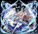 1girl angel angel_wings apple_caramel blonde_hair blue_eyes blue_skirt breasts cleavage company_name copyright_name detached_collar earrings fingerless_gloves frilled_skirt frills gloves golem gradient gradient_background hands head_wings highres holding holding_sword holding_weapon jewelry kurokishi_to_shiro_no_maou long_hair looking_at_viewer magic magic_circle medium_breasts official_art open_mouth skirt smile solo sparkle stud_earrings sword thighhighs very_long_hair watermark weapon white_legwear wings