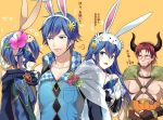 2boys 2girls a_meno0 armor beard blue_eyes blue_hair blush bunnysuit cape dorcas_(fire_emblem) facial_hair father_and_daughter fingerless_gloves fire_emblem fire_emblem:_kakusei fire_emblem:_rekka_no_ken fire_emblem_heroes gloves krom long_hair lucina marth_(fire_emblem:_kakusei) mask multiple_boys multiple_girls nintendo open_mouth red_hair reverse_trap robe short_hair smile tiara weapon