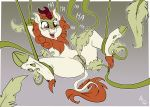 amber_eyes anus autumn_blaze_(mlp) blush clitoris female flora_fauna friendship_is_magic fuf fur green_fur hooves kirin mane my_little_pony open_mouth orange_fur plant pussy pussy_juice restrained snout solo spread_legs spreading teeth tentacles tickling vines white_fur
