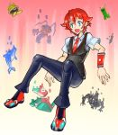 1boy blue_eyes creatures_(company) creeper digimon dolphin falling game_freak gen_1_pokemon gradient gradient_background hibiki_yuuta highres keramon male_focus metool minecraft necktie nintendo omega_(final_fantasy) oomasa_teikoku open_mouth pokemon porygon red_hair red_neckwear school_uniform solo ssss.gridman sweatdrop sweater_vest