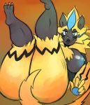 2018 3_toes anthro areola big_breasts big_butt biped blue_eyes blue_fur blush breasts butt claws erect_nipples fangs feline female fur half-closed_eyes kyaramerucocoa legendary_pokémon looking_at_viewer mammal nintendo nipples nude pokémon pokémon_(species) pokémorph raised_leg sharp_teeth smile solo teeth thick_thighs toe_claws toes v_sign video_games voluptuous wide_hips yellow_fur zeraora