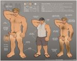 ball_tuft balls baphometbimbo blonde_hair body_hair canine chest_hair claws clothing fangs feet flaccid flip_flops hair hat hoodie human knot male mammal manly model_sheet muscular muscular_male nipples not_furry penis pointy_ears pubes sleeveless_shirt solo text were werecanine werewolf