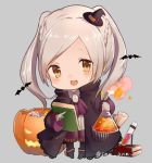 bat book brown_eyes candy chibi female_my_unit_(fire_emblem:_kakusei) fire_emblem fire_emblem:_kakusei flask food grey_background halloween_costume hat jack-o'-lantern long_sleeves my_unit_(fire_emblem:_kakusei) nintendo open_mouth simple_background snk_anm test_tube twintails twitter_username white_hair witch_hat
