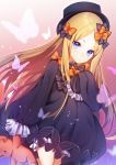 1girl abigail_williams_(fate/grand_order) black_bow black_dress black_hat blonde_hair bloomers blue_eyes bow bug butterfly dress expressionless fate/grand_order fate_(series) hair_bow hand_on_own_chest hat highres holding holding_stuffed_animal insect long_hair looking_at_viewer orange_bow popupi sleeves_past_fingers sleeves_past_wrists solo stuffed_animal stuffed_toy teddy_bear underwear very_long_hair