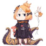 1girl abigail_williams_(fate/grand_order) balloon bangs black_bow black_jacket blonde_hair blue_eyes blush_stickers bow chibi closed_mouth commentary_request crossed_bandaids eyebrows_visible_through_hair fate/grand_order fate_(series) fou_(fate/grand_order) full_body hair_bow hair_bun heroic_spirit_traveling_outfit holding holding_balloon jacket long_hair long_sleeves medjed object_hug orange_bow oruhito_(kamekichi-9) parted_bangs polka_dot polka_dot_bow red_footwear sleeves_past_fingers sleeves_past_wrists solo standing stuffed_animal stuffed_toy suction_cups teddy_bear tentacle