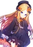 1girl abigail_williams_(fate/grand_order) bangs black_bow black_dress black_hat blonde_hair bloomers blue_eyes bow bug butterfly closed_mouth commentary dress dutch_angle eyebrows_visible_through_hair fate/grand_order fate_(series) forehead hair_bow hand_up hat highres holding holding_stuffed_animal insect long_hair long_sleeves looking_at_viewer orange_bow parted_bangs popupi simple_background sleeves_past_fingers sleeves_past_wrists solo stuffed_animal stuffed_toy symbol_commentary teddy_bear underwear very_long_hair white_background white_bloomers