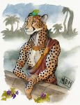 0laffson 2018 5_fingers anthro cheetah ear_piercing feline fur grey_nose male mammal orange_eyes piercing solo spots spotted_fur standing traditional_media_(artwork)