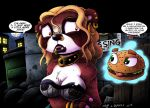 2018 anthro areola bear blonde_hair breasts burger chibi cleavage clothed clothing collar digital_media_(artwork) drake_fenwick drxii ear_piercing english_text facial_piercing female fishnet food fur goth hair hi_res lip_piercing lipstick makeup mammal nipple_piercing nipples nose_piercing open_mouth panda piercing red_fur red_panda text vampire white_fur