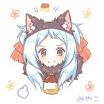 1girl animal_ear_fluff animal_ears bangs bell black_hairband blue_hair blush bow cat_ears closed_mouth fake_animal_ears food forehead fur_collar hair_bow hairband izumo_miyako long_hair parted_bangs portrait princess_connect! princess_connect!_re:dive pudding red_bow red_eyes sakurato_ototo_shizuku signature simple_background smile solo striped striped_bow visible_air white_background