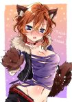 1girl :o animal_ear_fluff animal_ears belt blue_eyes blush breasts brown_hair claws cleavage cowboy_shot dog_ears ear_piercing fang fur_trim gloves groin hair_between_eyes jacket looking_at_viewer medium_breasts navel paw_gloves paws piercing raimu_(yuzu-raimu) red_collar shirt solo torn_clothes torn_shirt trick_or_treat