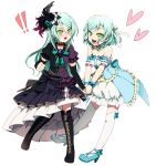 !! 2girls :d akasata aqua_choker aqua_hair aqua_neckwear arm_warmers back_bow bang_dream! bare_shoulders black_bow black_choker black_feathers black_flower black_footwear black_rose blue_bow blue_flower blue_footwear blue_rose boots bow brooch choker collarbone detached_sleeves dress feathers flower frilled_dress frilled_sleeves frills green_eyes hair_between_eyes hair_bow hair_feathers hair_flower hair_ornament hair_ribbon hand_holding heart high_heels hikawa_hina hikawa_sayo jewelry knee_boots lace lace_choker long_hair looking_at_another multiple_girls neck_ribbon open_mouth over-kneehighs overskirt purple_feathers ribbon rose short_hair short_sleeves siblings side_braids simple_background sisters smile strapless strapless_dress thighhighs twins upper_teeth v-shaped_eyebrows white_background white_legwear white_ribbon wrist_bow yellow_bow