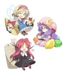>:) 3girls :/ :d ;d ^_^ alice_margatroid bat_wings blonde_hair blue_dress blue_eyes blush book boots capelet chibi closed_eyes commentary_request crescent crescent_moon_pin cross-laced_footwear crystal dress dress_shirt eyebrows_visible_through_hair eyes_closed full_body hair_ribbon hairband hands_together happy hat head_wings heart holding holding_book jewelry koakuma lolita_hairband long_hair looking_at_viewer mob_cap multiple_girls one_eye_closed open_mouth patchouli_knowledge polearm purple_dress purple_eyes purple_hair reading red_hair red_legwear ribbon ring satou_kibi shanghai_doll shield shirt shoes short_hair sidelocks skirt skirt_set smile spear striped striped_dress touhou tower tress_ribbon vertical_stripes very_long_hair vest weapon white_background white_shirt wings |_|